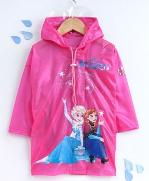 Babyhug Full Sleeves Raincoat Disney Frozen Print - Pink