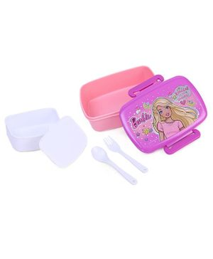 Barbie Lunch Box With Fork & Spoon - Pink
