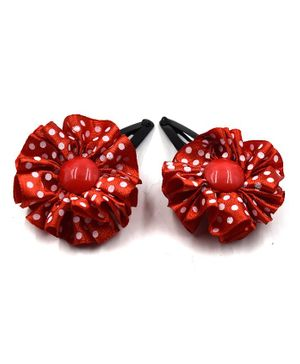 Magic Needles Polka Dot Print Flower Applique Snap Clips - Red