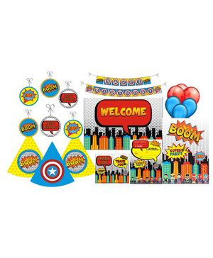 Prettyurparty Super Hero Party Decoration Kit Multicolour - Pack of 90