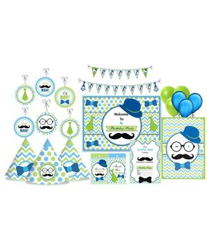Prettyurparty Little Man Themed Party Decorations Set - Green