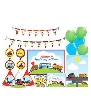 Prettyurparty Transport Themed Party Decorations Set - Blue