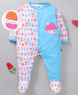 Child World Cotton Full Sleeves Footed Sleep suit Ice cream Print - Blue
