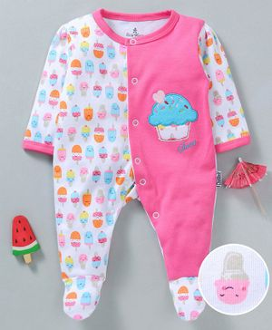 Child World Cotton Full Sleeves Footed Sleep suit Ice cream Print - Pink