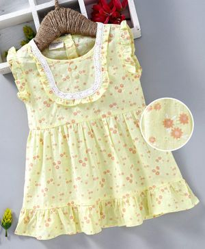 Kookie Kids Flutter Sleeves Frock Flower Print - Yellow