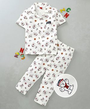 WOW Clothes Cotton Half Sleeves Night Suit Cartoon Print - Off White