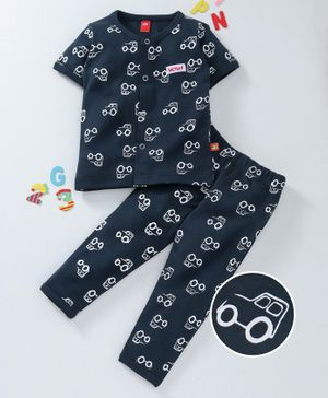 Wow Clothes Half Sleeves Night Suit Car Print - Navy Blue