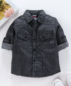 Babyhug Full Sleeves Solid Denim Shirt - Black