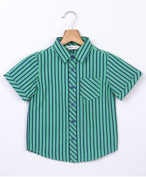 Beebay Striped Half Sleeves Shirt - Green