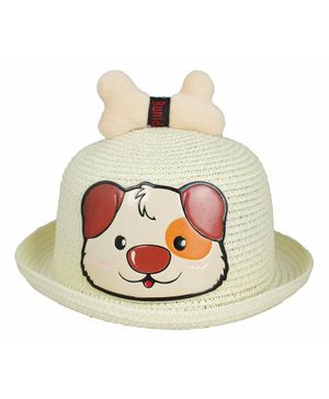 Kidofash Dog Face Patched Hat - Cream
