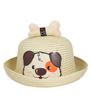 Kidofash Dog Face Patched Hat - Beige