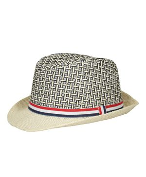 Kidofash Basket Weave Pattern Fedora Hat - Cream