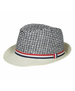 Kidofash Basket Weave Pattern Fedora Hat - White