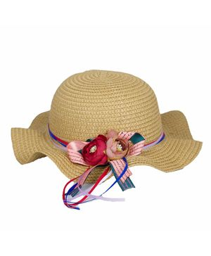 Kidofash Flower Decor Hat - Light Brown