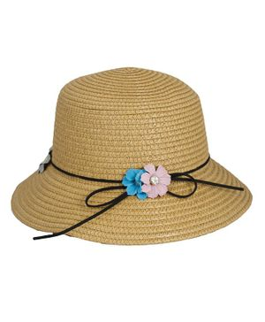 Kidofash Flower Applique Hat - Brown