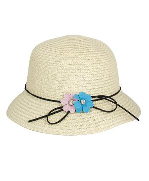 Kidofash Flower Applique Hat - Cream
