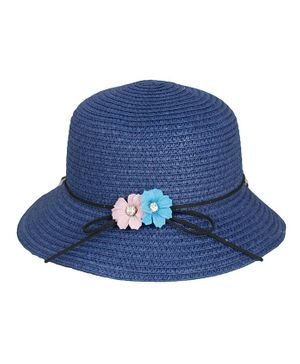 Kidofash Flower Applique Hat - Blue