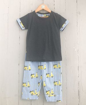 Frangipani Kids Scooter Print Half Sleeves Night Suit - Grey & Blue