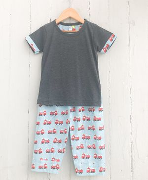 Frangipani Kids Truck Print Half Sleeves Night Suit - Grey & Blue