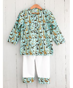 Frangipani Kids Giraffe Print Full Sleeves Night Suit - Light Blue & White