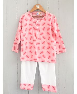 Frangipani Kids Macaroons Print Full Sleeves Night Suit - Pink & White