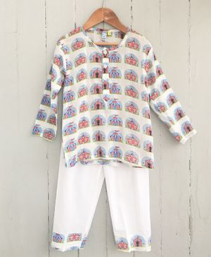 Frangipani Kids Circus Print Full Sleeves Night Suit - White