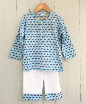 Frangipani Kids Shark Print Full Sleeves Night Suit - Blue & White