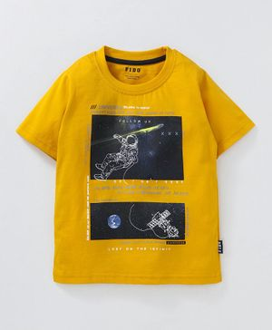 Fido Half Sleeves Tee Space Print - Yellow