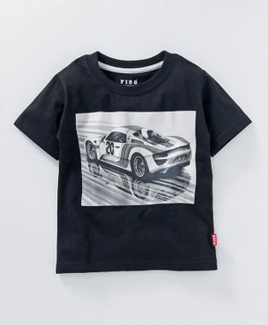 Fido Half Sleeves Tee Car Print - Black