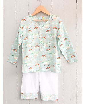 Frangipani Kids Rainbow Print Full Sleeves Night Suit - Light Blue & White