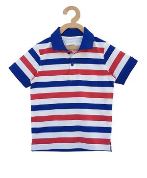 Campana Striped Half Sleeves T-Shirt - Red & Blue