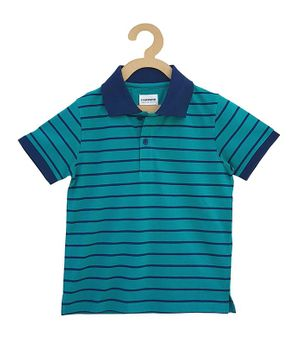 Campana Striped Half Sleeves T-Shirt - Green & Navy Blue