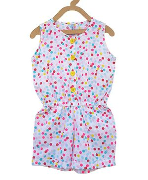 Campana Polka Dot Print Sleeveless Jumpsuit - Multicolor