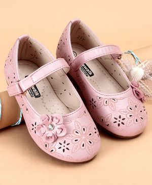 Cute Walk by Babyhug Party Wear Bellies With Floral Applique - Pink