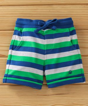 UCB Stripe Shorts With Drawstring - Navy Blue Green