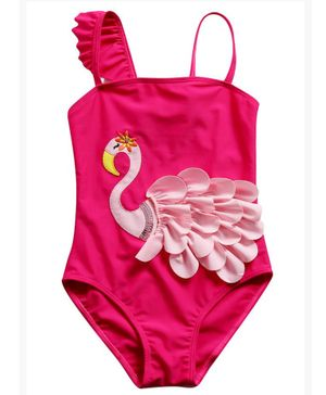 Awabox Swan Patch Sleeveless Swimsuit - Dark Pink