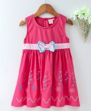 Smile Rabbit Sleeveless Frock Bow Motif & Embroidery - Dark Pink
