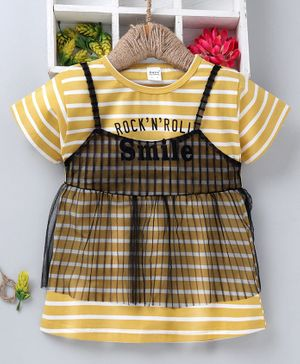 Meng Wa Half Sleeves Striped Top With Net Overlay - Yellow