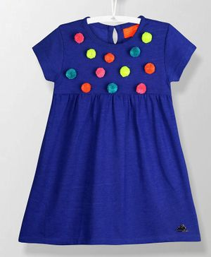 Cherry Crumble by Nitt Hyman Short Sleeves Pom Pom Applique Dress - Blue