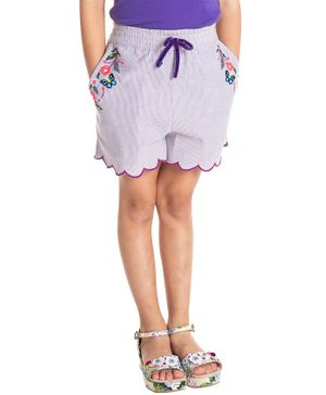 Cherry Crumble California Flower & Butterfly Embroidered Shorts - Purple