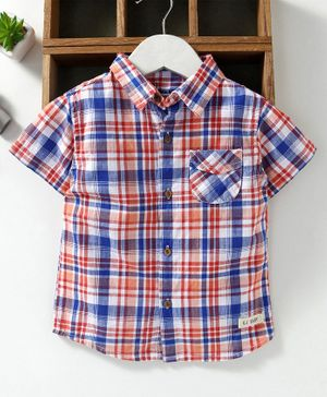 GJ Baby Half Sleeves Check Shirt - Blue Orange