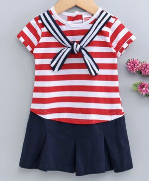 Babyhug Half Sleeves Striped Frock Sailor Neck - Red Navy Blue