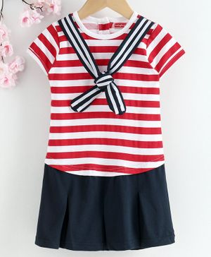 Babyhug Half Sleeves Striped Sailor Neck Frock - Navy Blue Red
