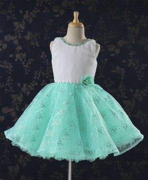 Babyhug Sleeveless Party Frock Pearl Embellishments & Floral Print - Green