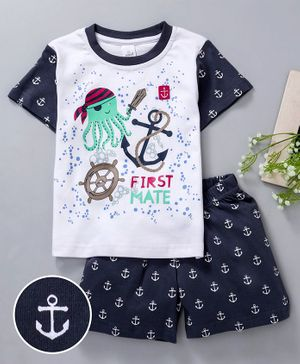 Olio Kids Half Sleeves Tee & Shorts Marine Print - White Navy Blue