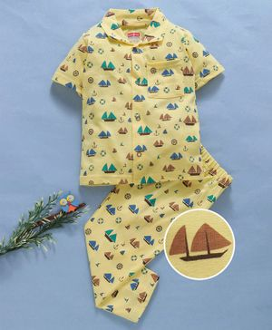 Babyhug Half Sleeves Cotton Night Suit Multi Print - Yellow