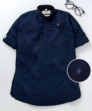 Dapper Dudes Printed Full Sleeves Kurta - Navy Blue
