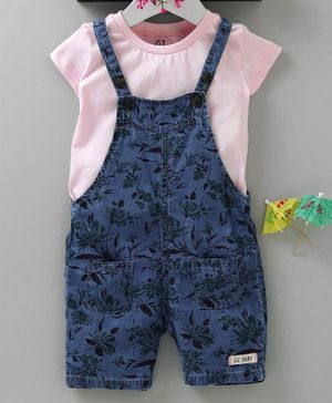 GJ Baby Printed Dungaree With Inner Solid Tee - Pink Blue