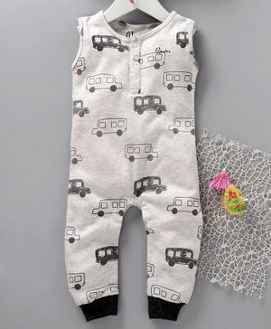 GJ Baby Sleeveless Printed Romper - White
