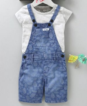 GJ Baby Printed Dungaree With Inner Solid Tee - Grey Blue